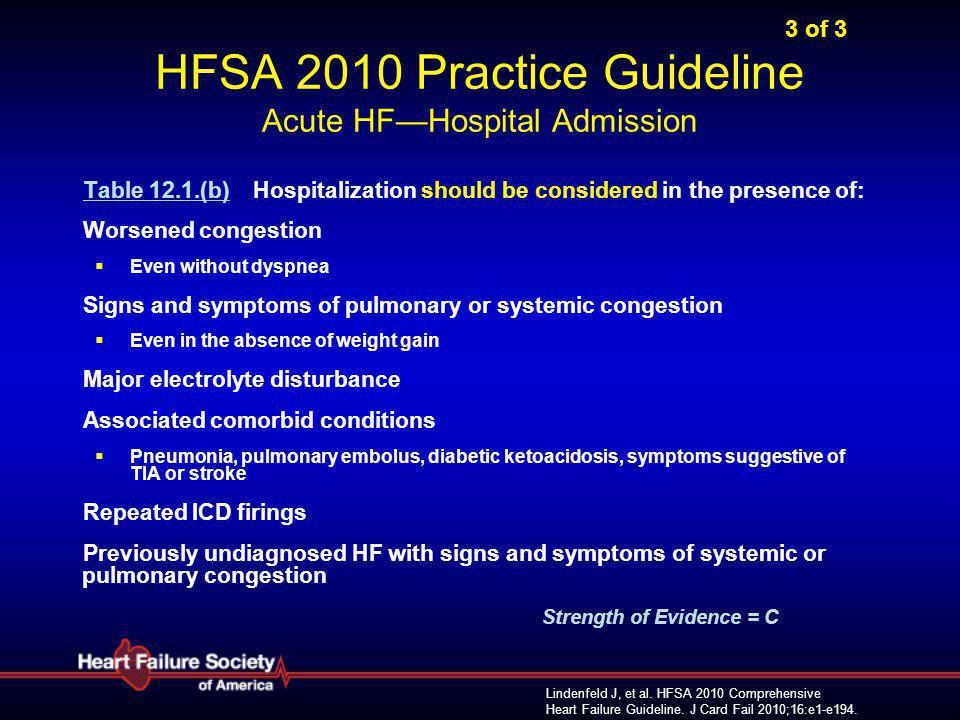 Lindenfeld J, et al. HFSA 2010 Comprehensive Heart Failure Guideline. J Card Fail 2010;16:e1-e194. 3 of 3 HFSA 2010 Practice Guideline Acute HF—Hospit