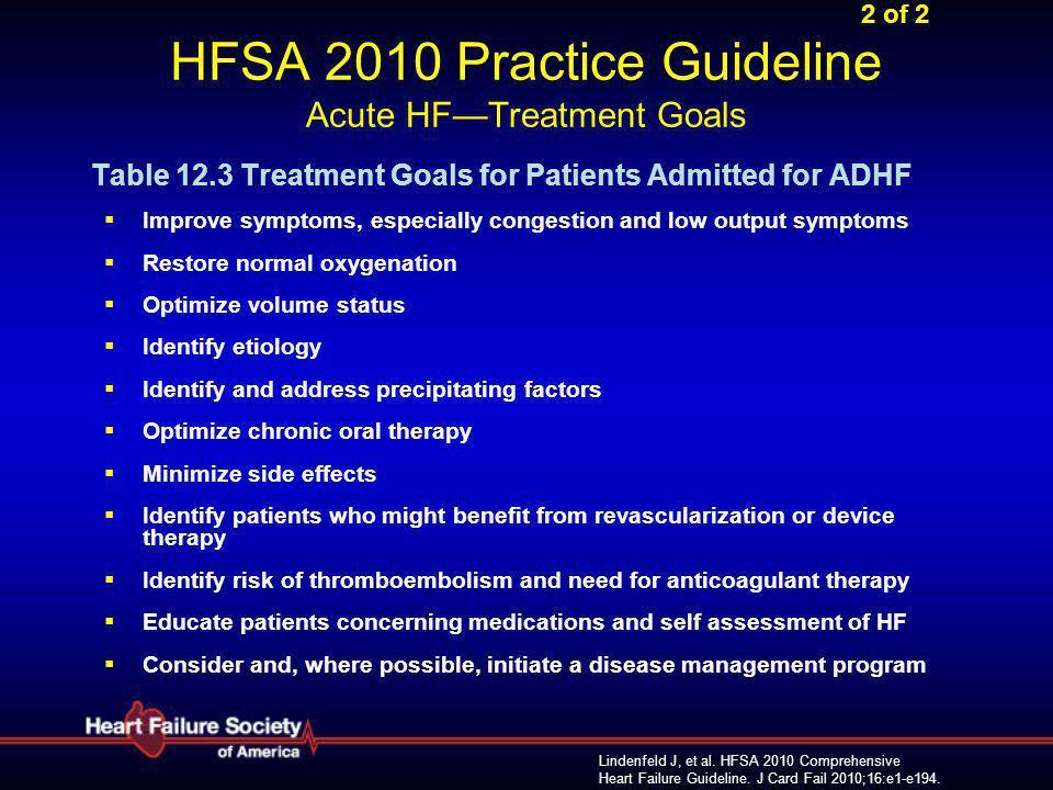 Lindenfeld J, et al. HFSA 2010 Comprehensive Heart Failure Guideline. J Card Fail 2010;16:e1-e194. 2 of 2 HFSA 2010 Practice Guideline Acute HF—Treatm