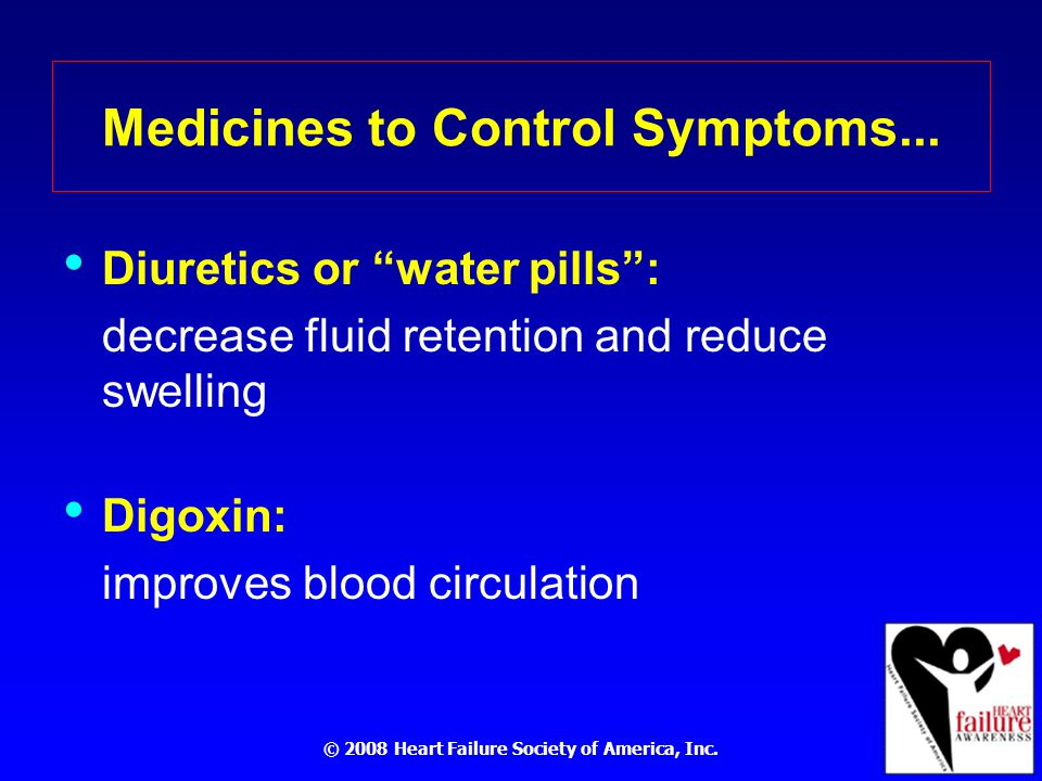 © 2008 Heart Failure Society of America, Inc. Medicines to Control Symptoms...