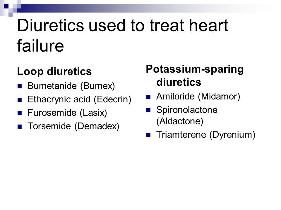 Diuretics used to treat heart failure Loop diuretics Bumetanide (Bumex) Ethacrynic acid (Edecrin) Furosemide (Lasix) Torsemide (Demadex) Potassium-spa