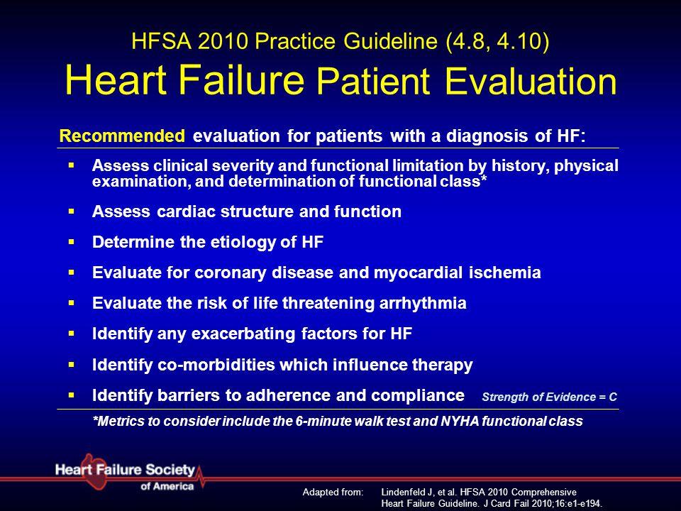 Lindenfeld J, et al. HFSA 2010 Comprehensive Heart Failure Guideline. J Card Fail 2010;16:e1-e194. HFSA 2010 Practice Guideline (4.8, 4.10) Heart Fail