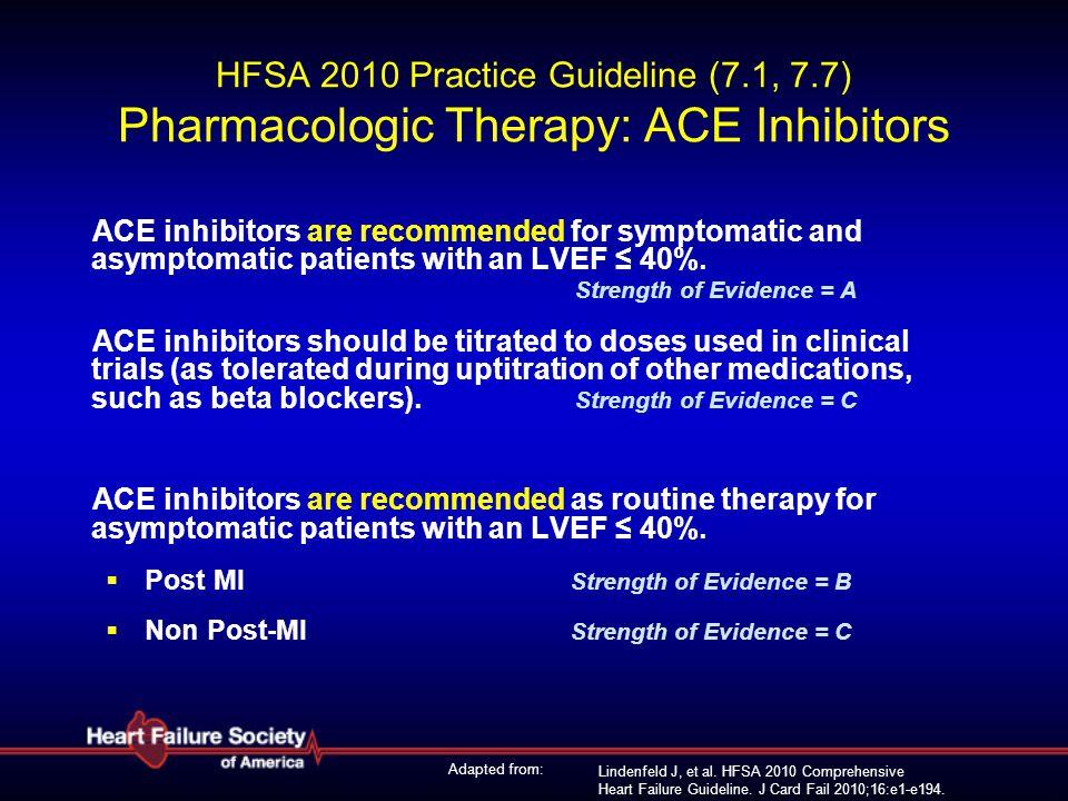 Lindenfeld J, et al. HFSA 2010 Comprehensive Heart Failure Guideline. J Card Fail 2010;16:e1-e194. HFSA 2010 Practice Guideline (7.1, 7.7) Pharmacolog