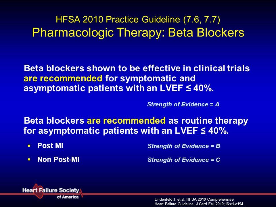 Lindenfeld J, et al. HFSA 2010 Comprehensive Heart Failure Guideline. J Card Fail 2010;16:e1-e194. HFSA 2010 Practice Guideline (7.6, 7.7) Pharmacolog