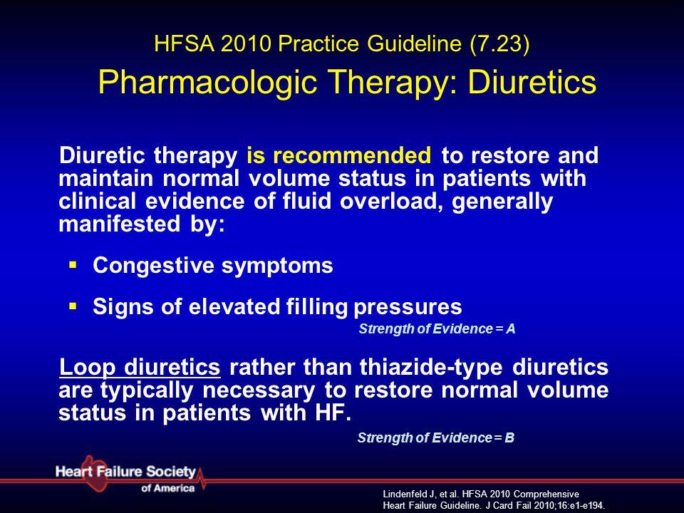 Lindenfeld J, et al. HFSA 2010 Comprehensive Heart Failure Guideline. J Card Fail 2010;16:e1-e194. HFSA 2010 Practice Guideline (7.23) Pharmacologic T