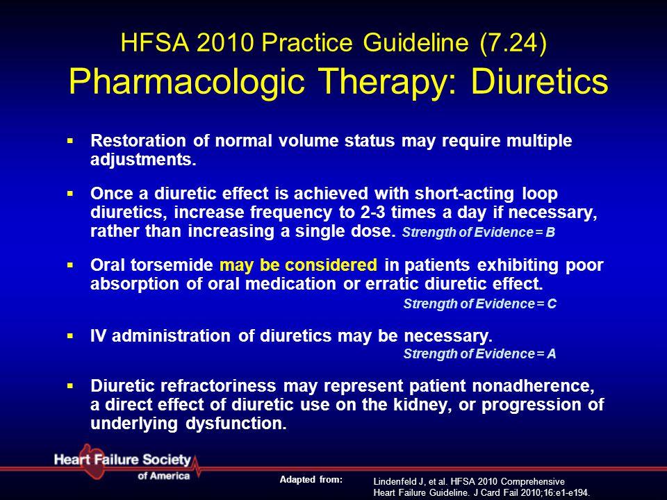 Lindenfeld J, et al. HFSA 2010 Comprehensive Heart Failure Guideline. J Card Fail 2010;16:e1-e194. HFSA 2010 Practice Guideline (7.24) Pharmacologic T