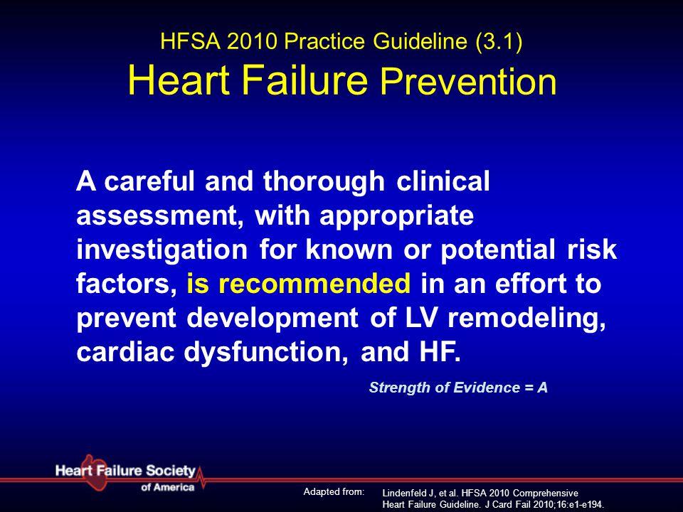 Lindenfeld J, et al. HFSA 2010 Comprehensive Heart Failure Guideline. J Card Fail 2010;16:e1-e194. HFSA 2010 Practice Guideline (3.1) Heart Failure Pr