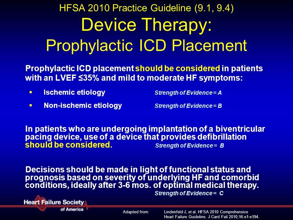 Lindenfeld J, et al. HFSA 2010 Comprehensive Heart Failure Guideline. J Card Fail 2010;16:e1-e194. HFSA 2010 Practice Guideline (9.1, 9.4) Device Ther