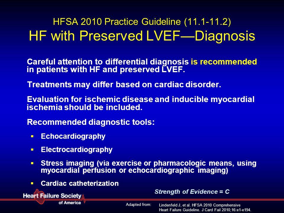 Lindenfeld J, et al. HFSA 2010 Comprehensive Heart Failure Guideline. J Card Fail 2010;16:e1-e194. HFSA 2010 Practice Guideline (11.1-11.2) HF with Pr