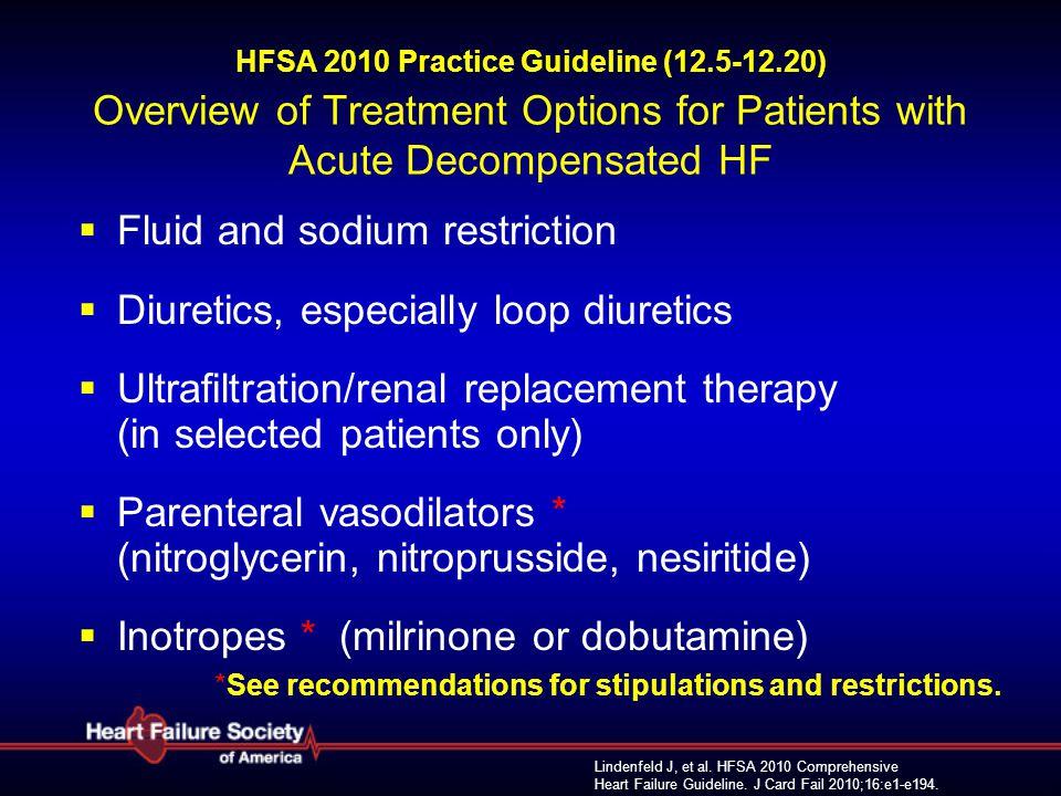 Lindenfeld J, et al. HFSA 2010 Comprehensive Heart Failure Guideline. J Card Fail 2010;16:e1-e194. HFSA 2010 Practice Guideline (12.5-12.20) Overview
