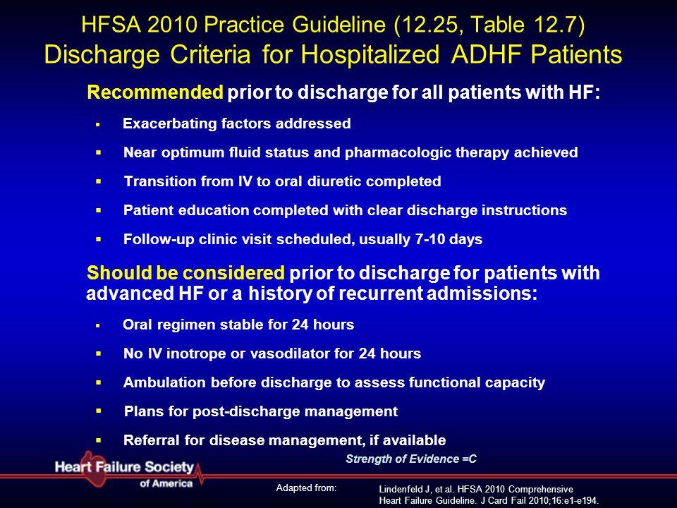 Lindenfeld J, et al. HFSA 2010 Comprehensive Heart Failure Guideline. J Card Fail 2010;16:e1-e194. HFSA 2010 Practice Guideline (12.25, Table 12.7) Di