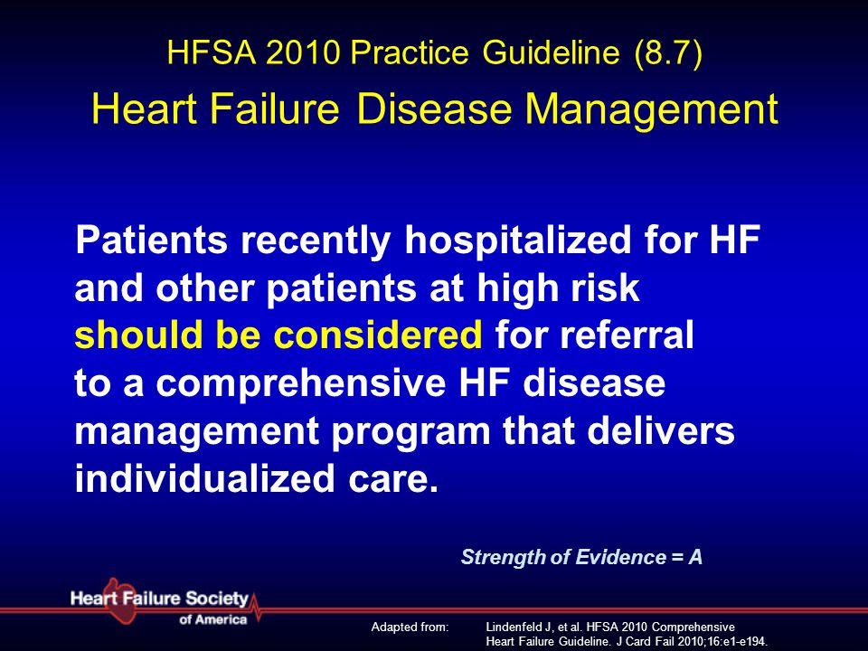 Lindenfeld J, et al. HFSA 2010 Comprehensive Heart Failure Guideline. J Card Fail 2010;16:e1-e194. HFSA 2010 Practice Guideline (8.7) Heart Failure Di