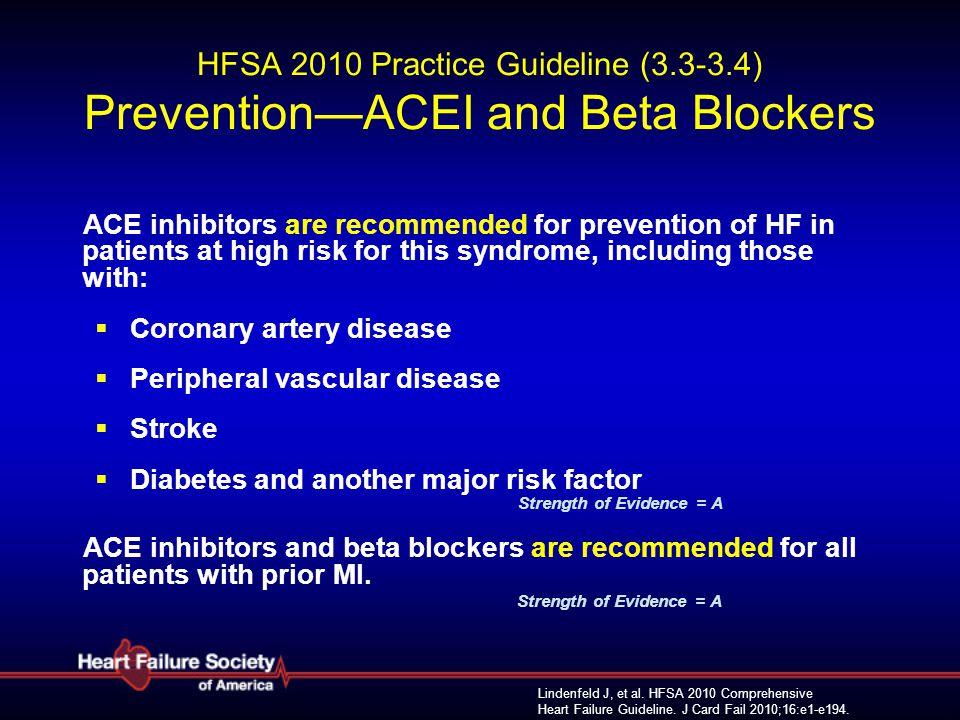 Lindenfeld J, et al. HFSA 2010 Comprehensive Heart Failure Guideline. J Card Fail 2010;16:e1-e194. HFSA 2010 Practice Guideline (3.3-3.4) Prevention—A