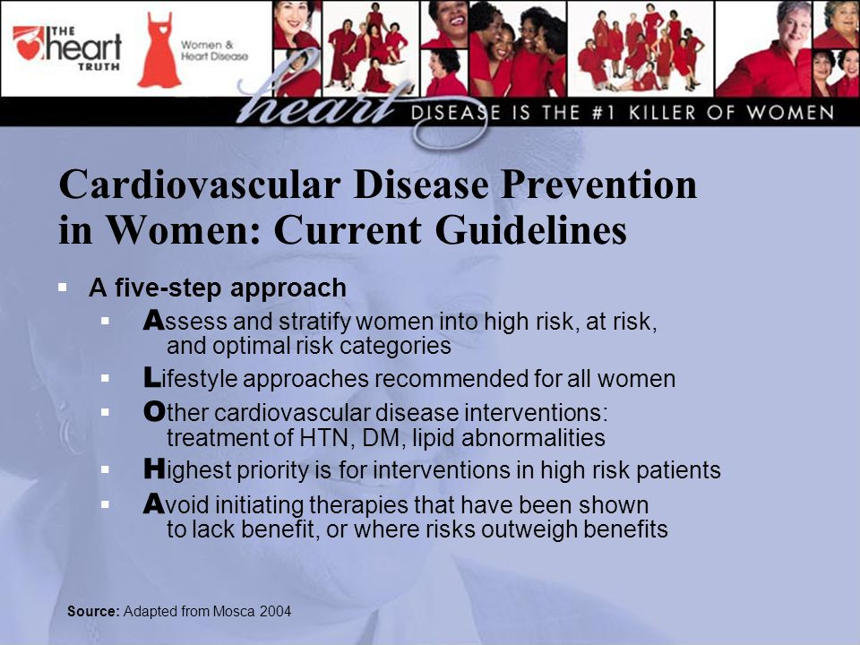 Cardiovascular Disease Prevention in Women: Current Guidelines  A five-step approach  A ssess and stratify women into high risk, at risk, and optimal risk categories  L ifestyle approaches recommended for all women  O ther cardiovascular disease interventions: treatment of HTN, DM, lipid abnormalities  H ighest priority is for interventions in high risk patients  A void initiating therapies that have been shown to lack benefit, or where risks outweigh benefits Source: Adapted from Mosca 2004