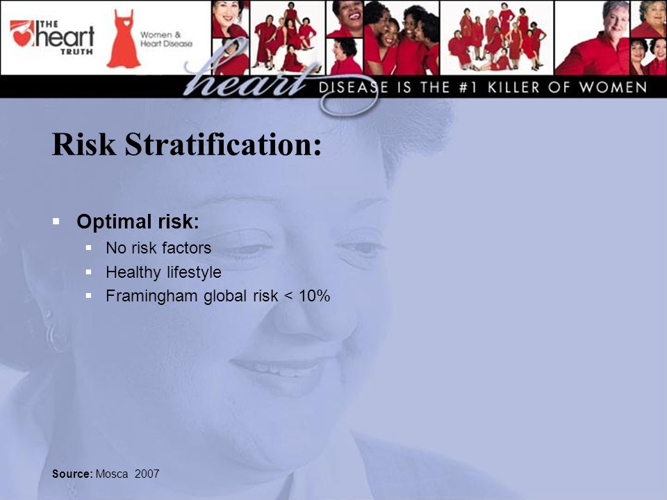 Risk Stratification:  Optimal risk:  No risk factors  Healthy lifestyle  Framingham global risk < 10% Source: Mosca 2007