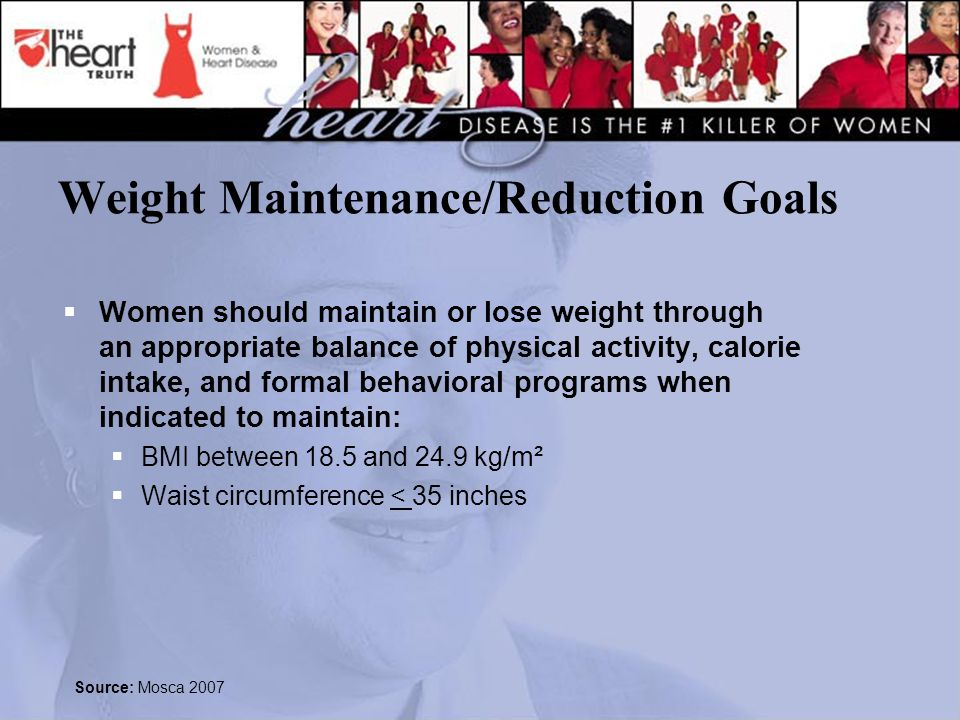 Weight Maintenance/Reduction Goals  Women should maintain or lose weight through an appropriate balance of physical activity, calorie intake, and formal behavioral programs when indicated to maintain:  BMI between 18.5 and 24.9 kg/m²  Waist circumference < 35 inches Source: Mosca 2007