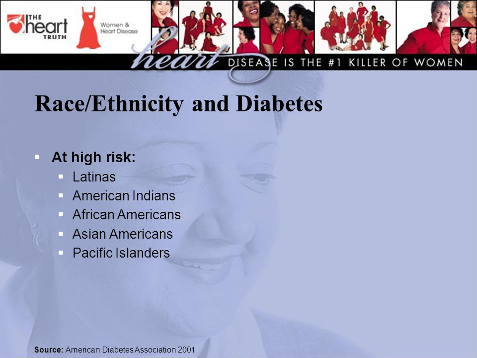 Race/Ethnicity and Diabetes  At high risk:  Latinas  American Indians  African Americans  Asian Americans  Pacific Islanders Source: American Diabetes Association 2001