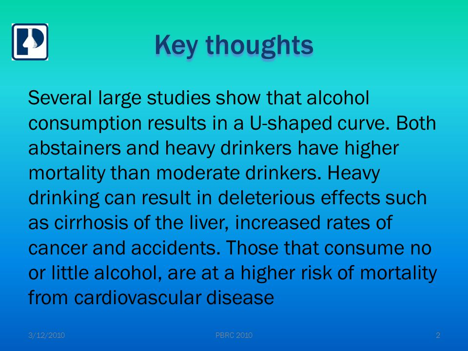 Key thoughts Alcohol has both good and bad effects.
