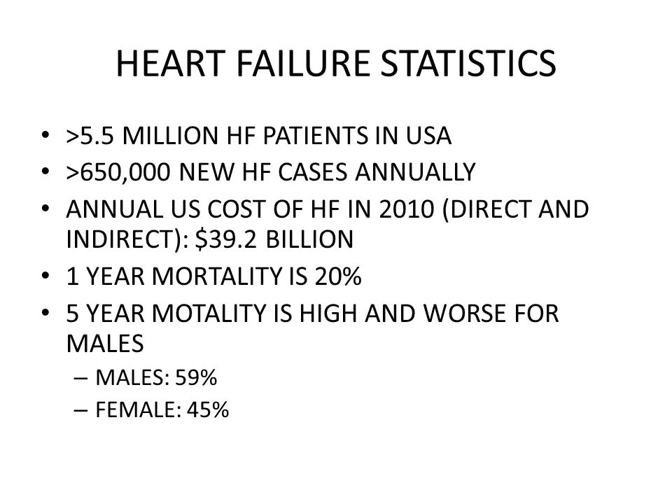 HEART FAILURE STATISTICS >5.5 MILLION HF PATIENTS IN USA >650,000 NEW HF CASES ANNUALLY ANNUAL US COST OF HF IN 2010 (DIRECT AND INDIRECT): $39.2 BILL