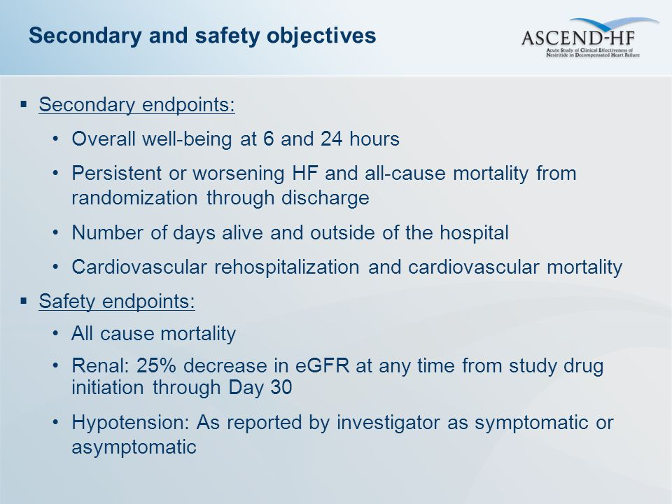  Secondary endpoints: Overall well-being at 6 and 24 hours Persistent or worsening HF and all-cause mortality from randomization through discharge Number of days alive and outside of the hospital Cardiovascular rehospitalization and cardiovascular mortality  Safety endpoints: All cause mortality Renal: 25% decrease in eGFR at any time from study drug initiation through Day 30 Hypotension: As reported by investigator as symptomatic or asymptomatic Secondary and safety objectives