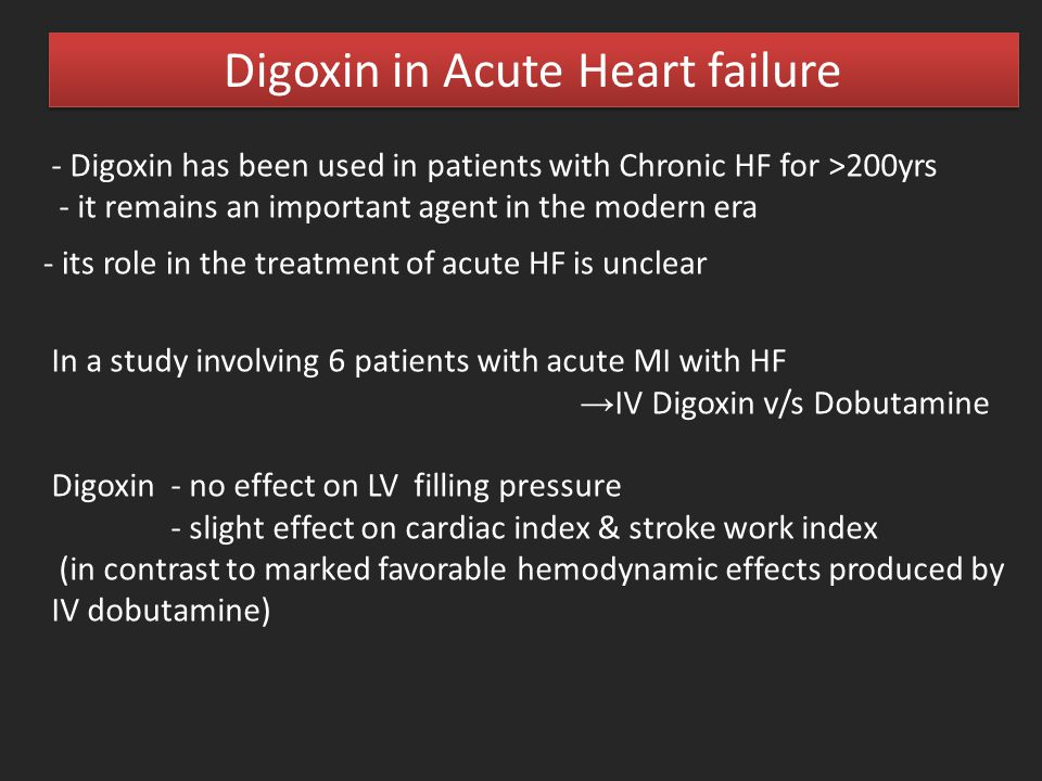 - Digoxin has been used in patients with Chronic HF for >200yrs - it remains an important agent in the modern era - its role in the treatment of acute
