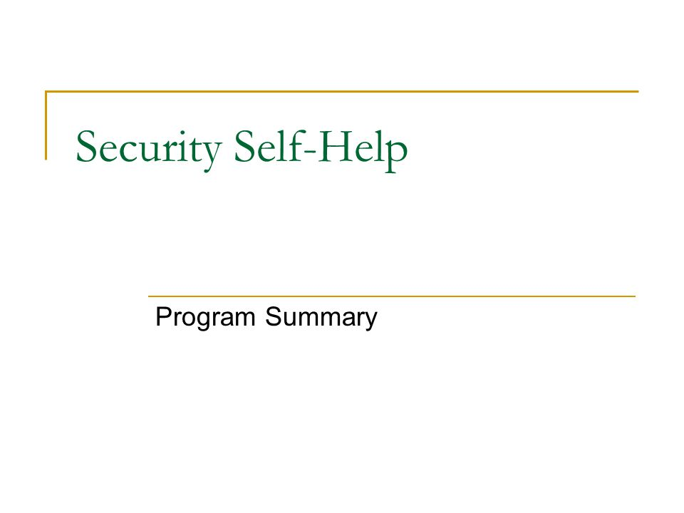 Security Self-Help Program Summary