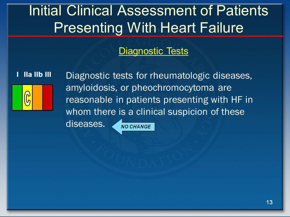 13 Initial Clinical Assessment of Patients Presenting With Heart Failure Diagnostic tests for rheumatologic diseases, amyloidosis, or pheochromocytoma are reasonable in patients presenting with HF in whom there is a clinical suspicion of these diseases.