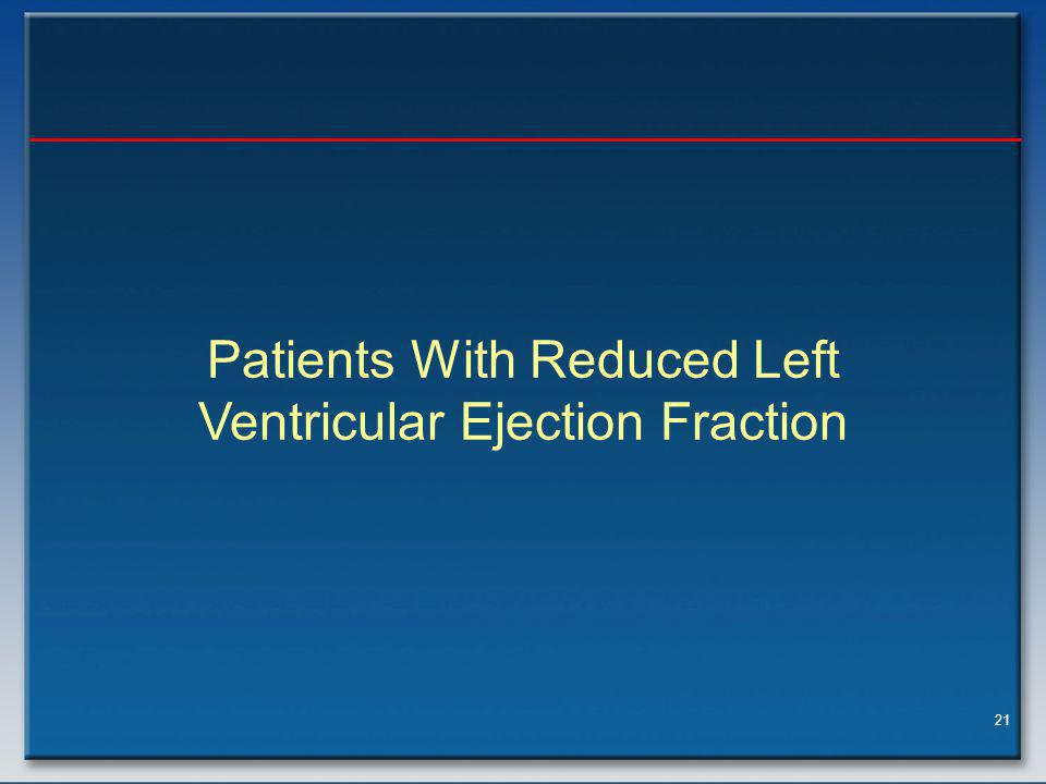 21 Patients With Reduced Left Ventricular Ejection Fraction