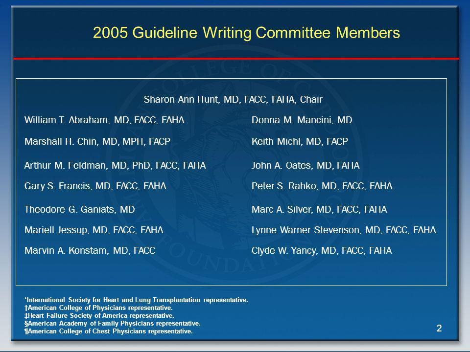 2 2005 Guideline Writing Committee Members Sharon Ann Hunt, MD, FACC, FAHA, Chair William T.
