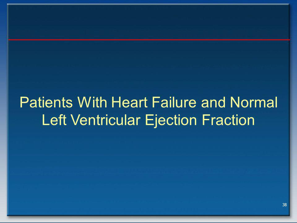 38 Patients With Heart Failure and Normal Left Ventricular Ejection Fraction