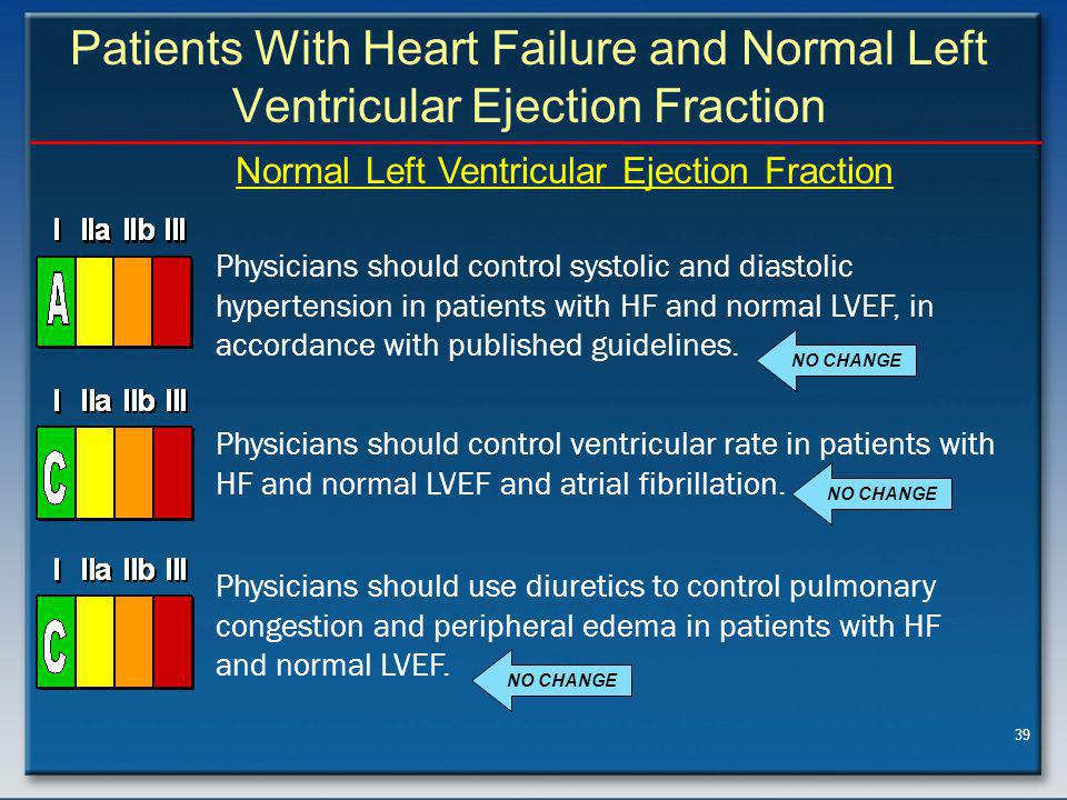 39 Patients With Heart Failure and Normal Left Ventricular Ejection Fraction Physicians should control systolic and diastolic hypertension in patients with HF and normal LVEF, in accordance with published guidelines.