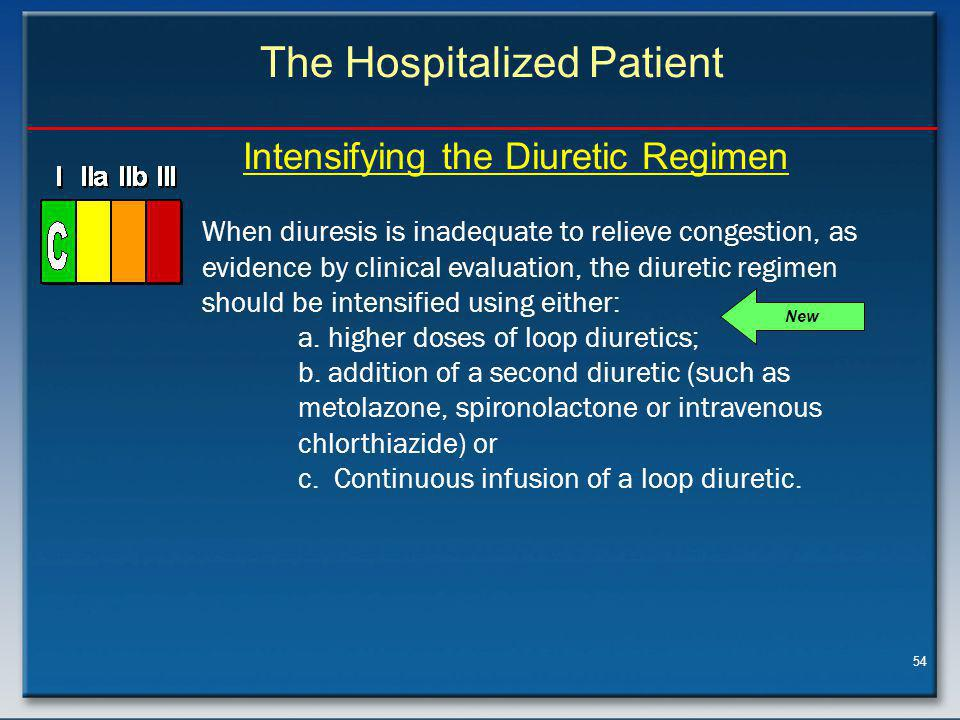 54 The Hospitalized Patient Intensifying the Diuretic Regimen New When diuresis is inadequate to relieve congestion, as evidence by clinical evaluation, the diuretic regimen should be intensified using either: a.