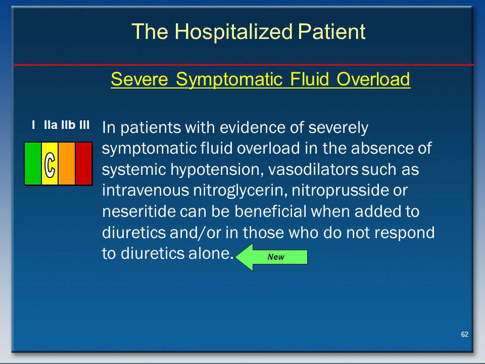 62 In patients with evidence of severely symptomatic fluid overload in the absence of systemic hypotension, vasodilators such as intravenous nitroglycerin, nitroprusside or neseritide can be beneficial when added to diuretics and/or in those who do not respond to diuretics alone.