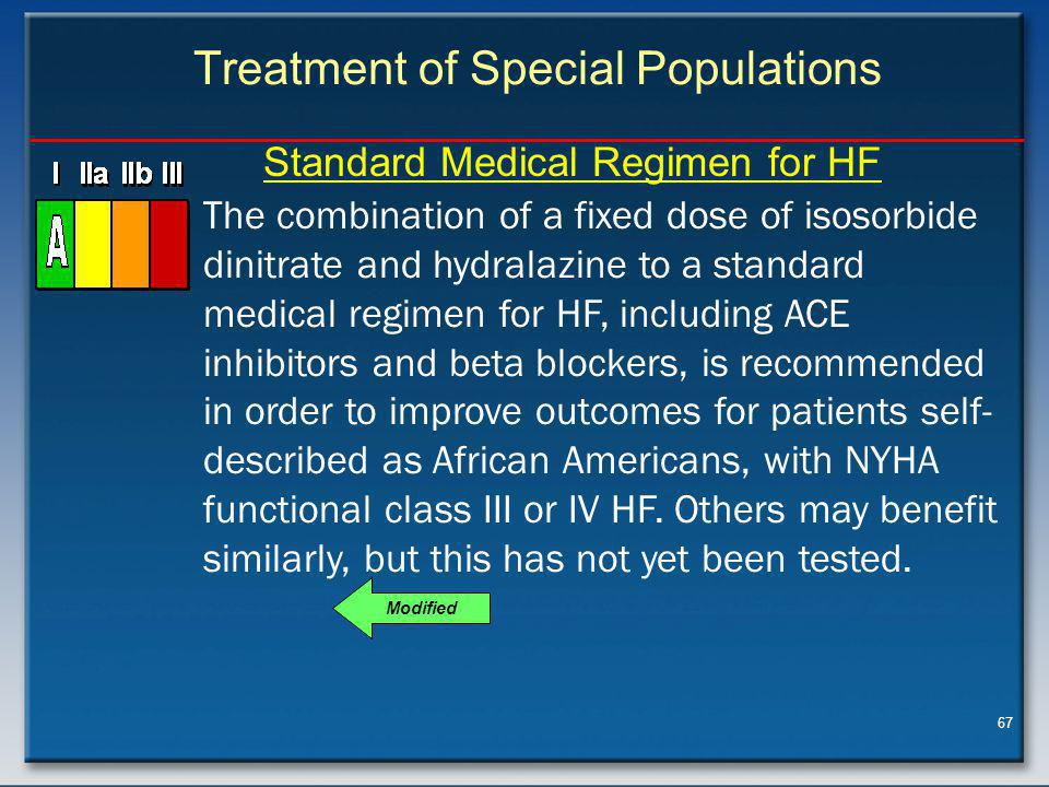 67 Treatment of Special Populations The combination of a fixed dose of isosorbide dinitrate and hydralazine to a standard medical regimen for HF, including ACE inhibitors and beta blockers, is recommended in order to improve outcomes for patients self- described as African Americans, with NYHA functional class III or IV HF.