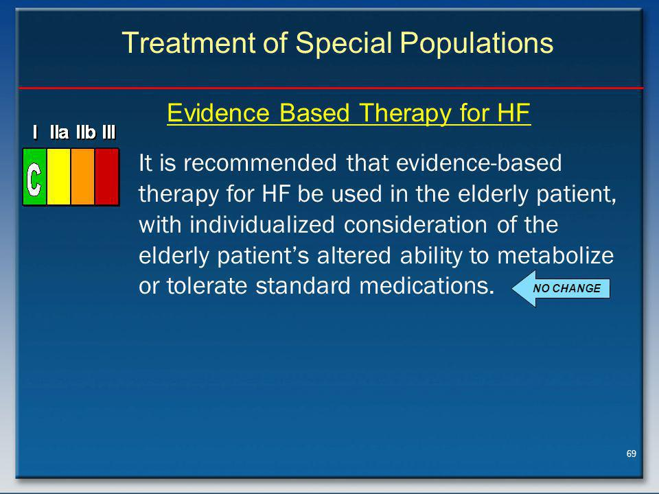 69 Treatment of Special Populations It is recommended that evidence-based therapy for HF be used in the elderly patient, with individualized consideration of the elderly patient's altered ability to metabolize or tolerate standard medications.
