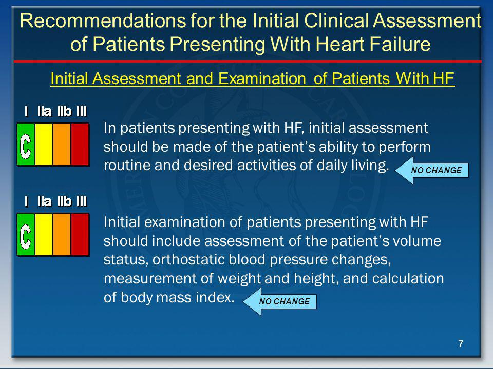 7 In patients presenting with HF, initial assessment should be made of the patient's ability to perform routine and desired activities of daily living.