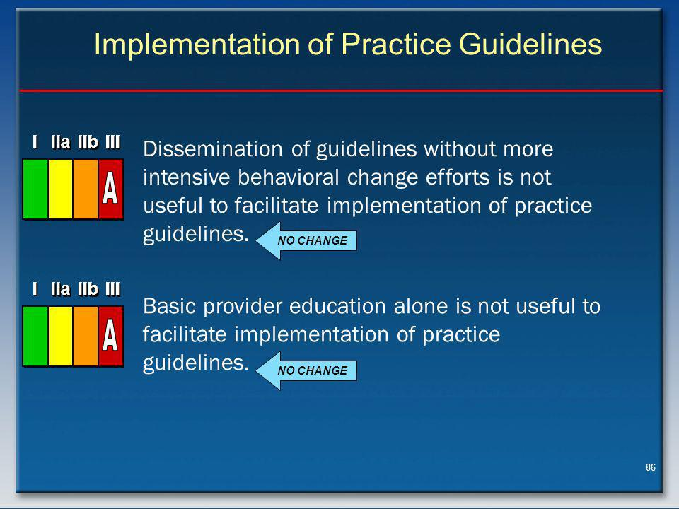 86 Implementation of Practice Guidelines NO CHANGE Dissemination of guidelines without more intensive behavioral change efforts is not useful to facilitate implementation of practice guidelines.
