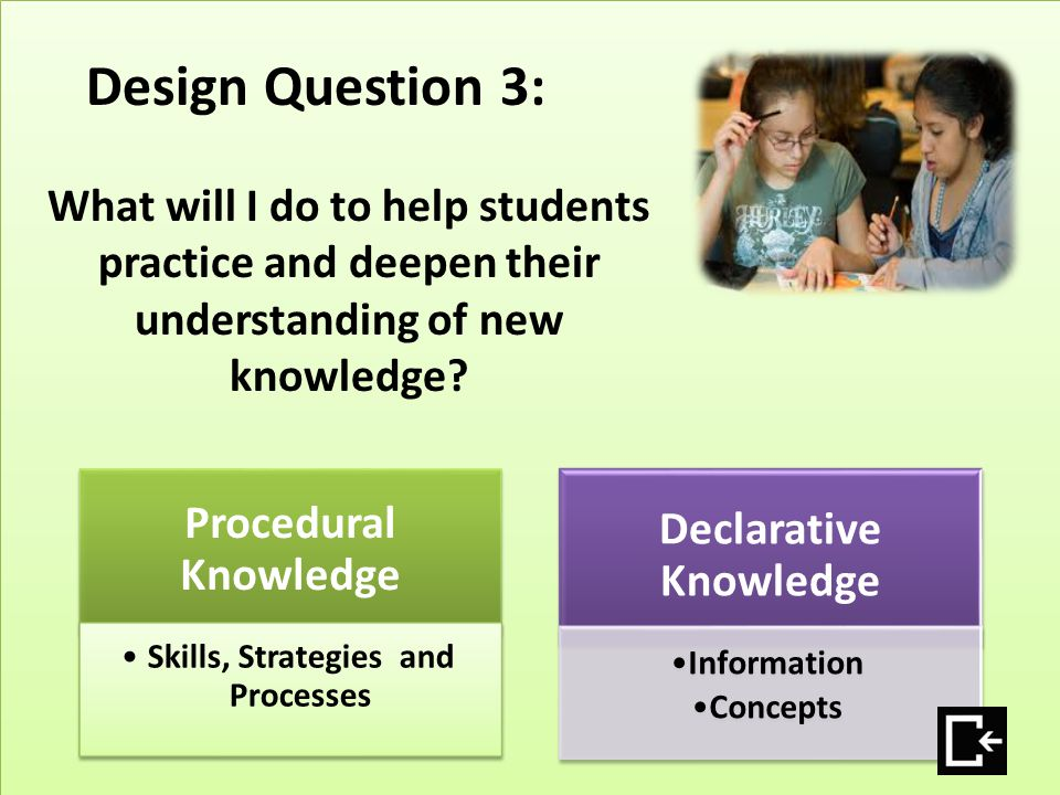 Procedural Knowledge Skills, Strategies and Processes Declarative Knowledge Information Concepts Design Question 3: What will I do to help students pr