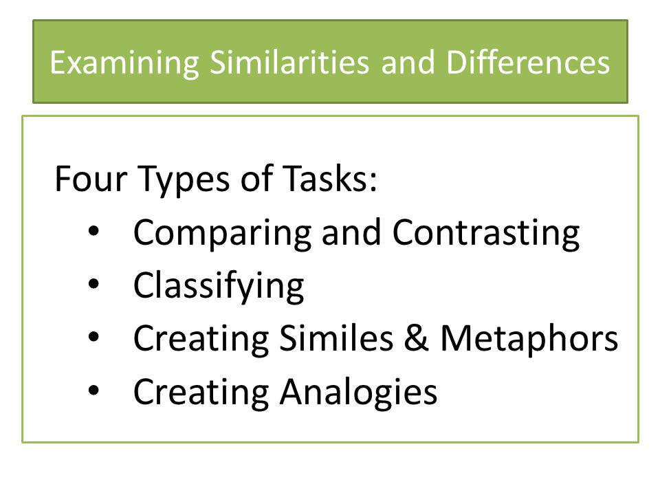 Examining Similarities and Differences Four Types of Tasks: Comparing and Contrasting Classifying Creating Similes & Metaphors Creating Analogies