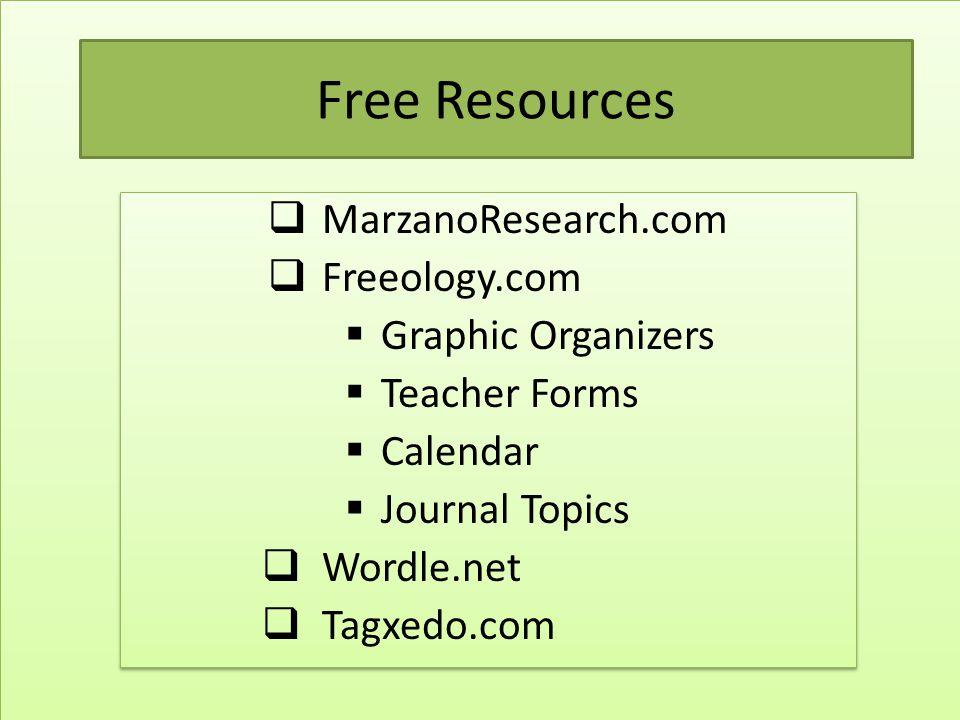 Free Resources  MarzanoResearch.com  Freeology.com  Graphic Organizers  Teacher Forms  Calendar  Journal Topics  Wordle.net  Tagxedo.com  Mar