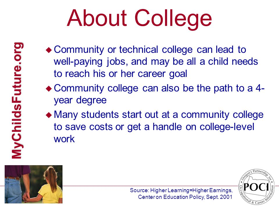 MyChildsFuture.org About College u Community or technical college can lead to well-paying jobs, and may be all a child needs to reach his or her career goal u Community college can also be the path to a 4- year degree u Many students start out at a community college to save costs or get a handle on college-level work Source: Higher Learning=Higher Earnings, Center on Education Policy, Sept.