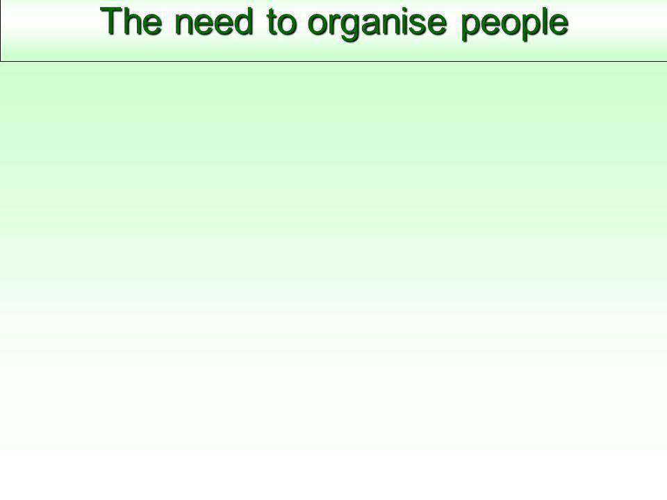 The need to organise people