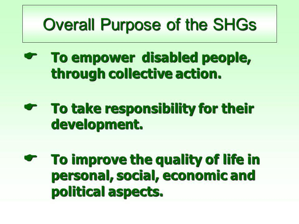 Overall Purpose of the SHGs  To empower disabled people, through collective action.