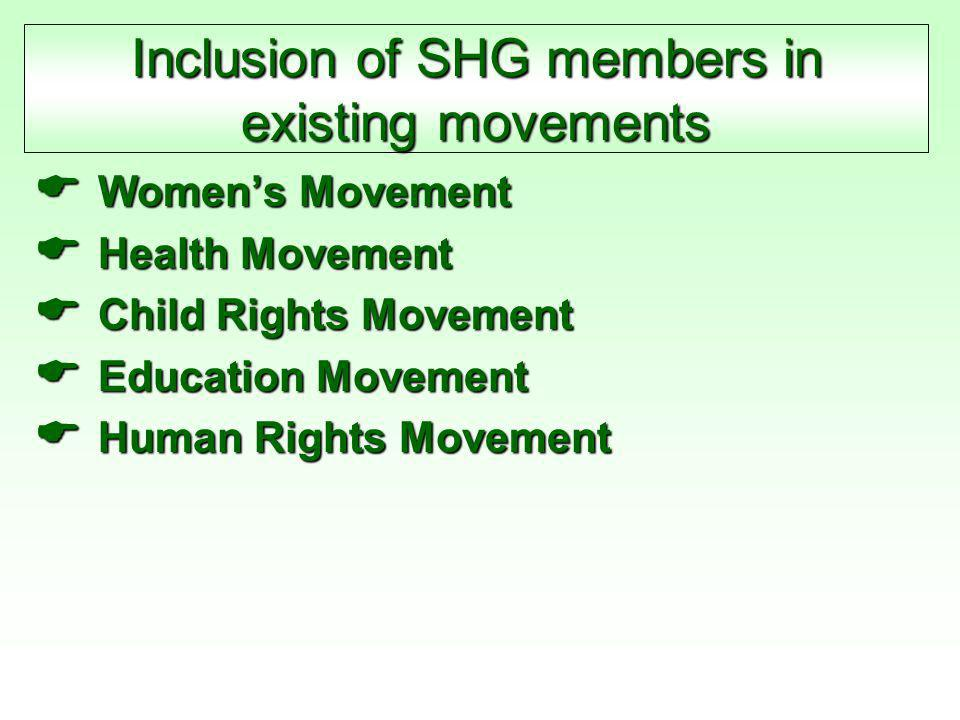 Inclusion of SHG members in existing movements  Women's Movement  Health Movement  Child Rights Movement  Education Movement  Human Rights Movement