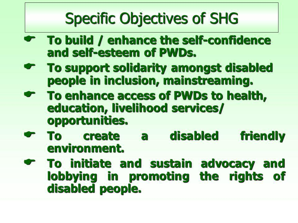 Specific Objectives of SHG  To build / enhance the self-confidence and self-esteem of PWDs.