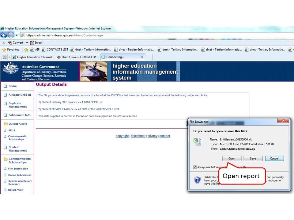Open report