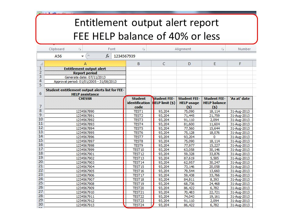 Entitlement output alert report FEE HELP balance of 40% or less
