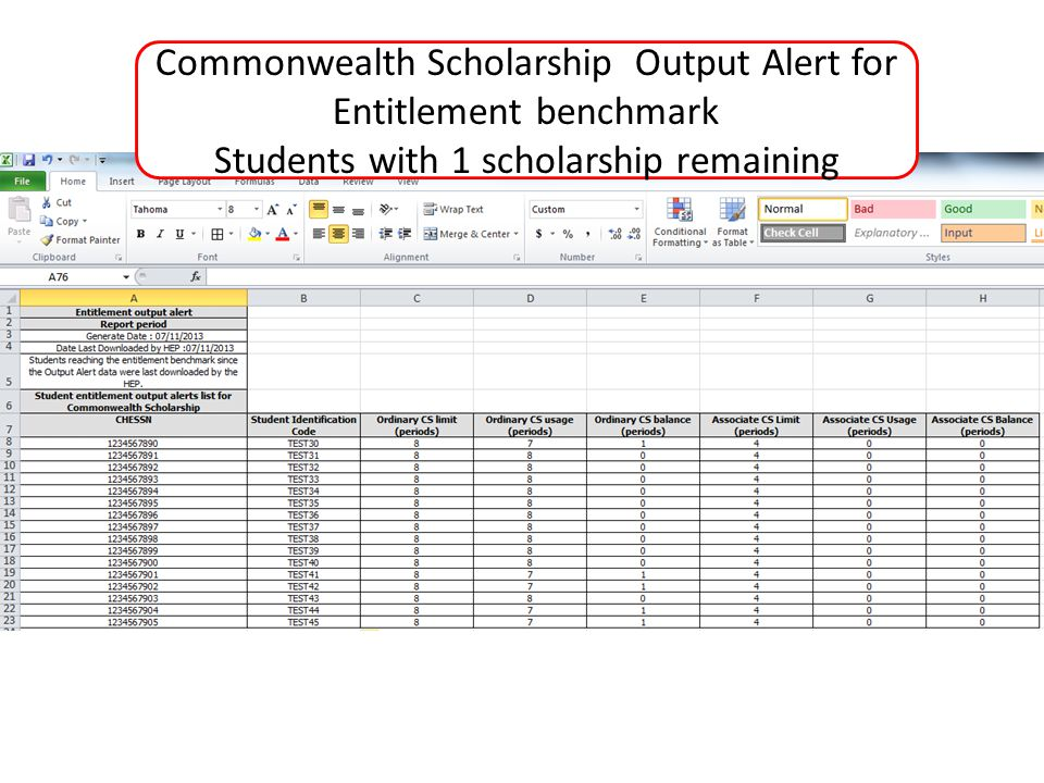 Commonwealth Scholarship Output Alert for Entitlement benchmark Students with 1 scholarship remaining
