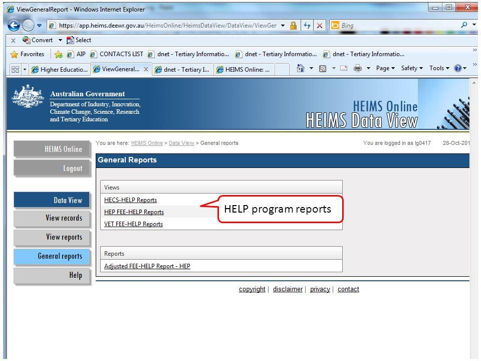 HELP program reports