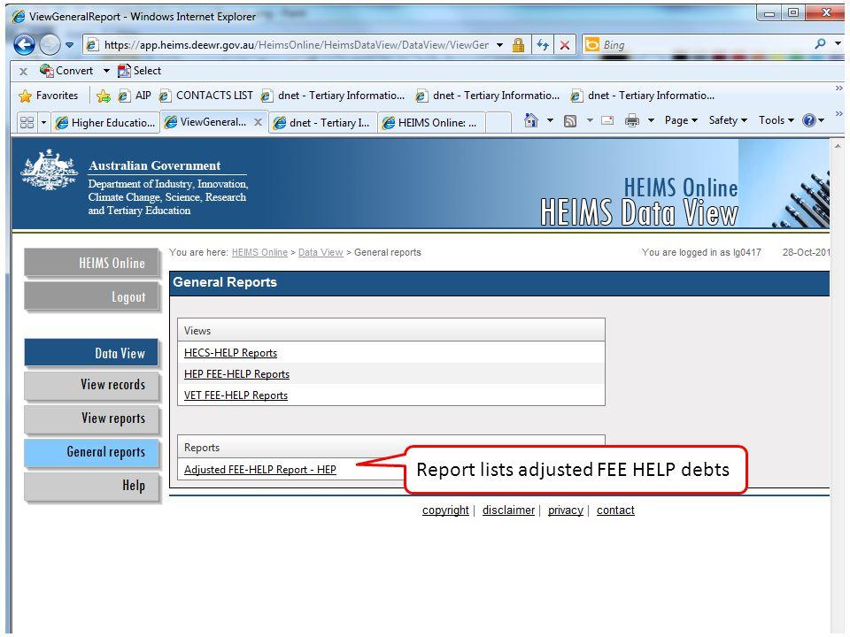 Report lists adjusted FEE HELP debts