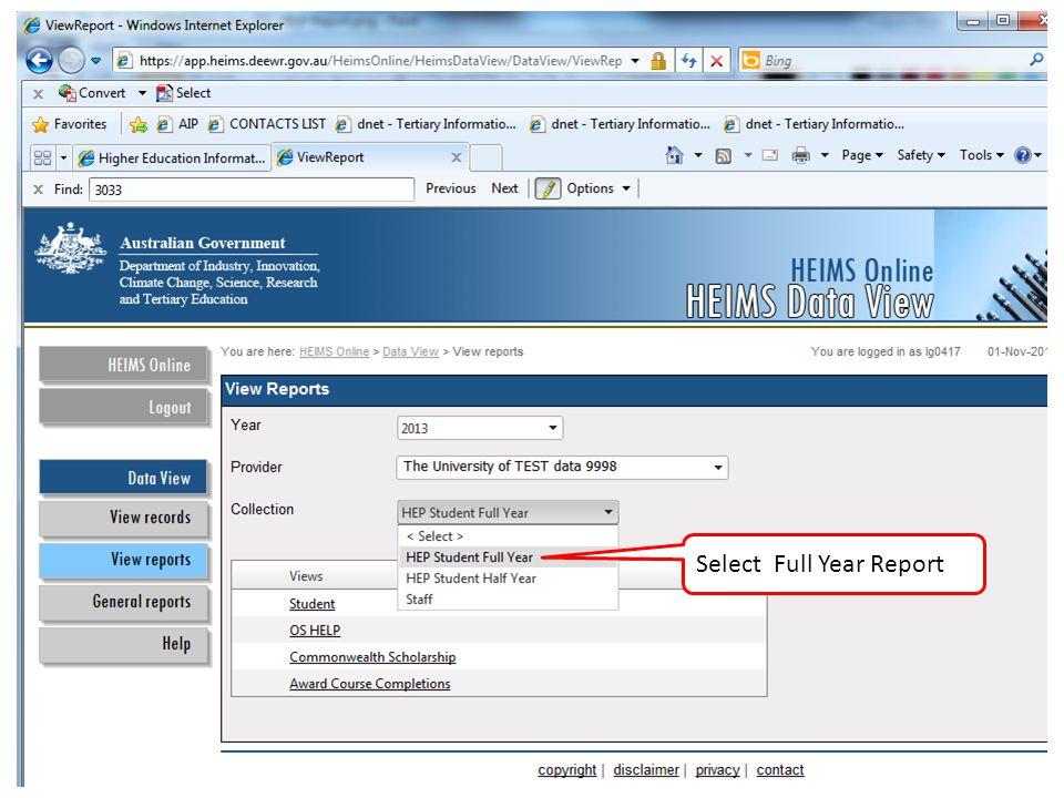 Select Full Year Report